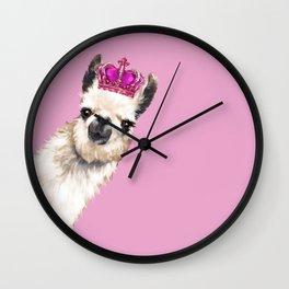 Llama Queen in Pink Wall Clock