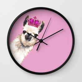 Llama Queen in Pink Wall Clock