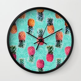 From Pineapple to Pink - tropical doodle pattern on mint Wall Clock