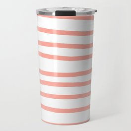 Simply Drawn Stripes Salmon Pink on White Travel Mug
