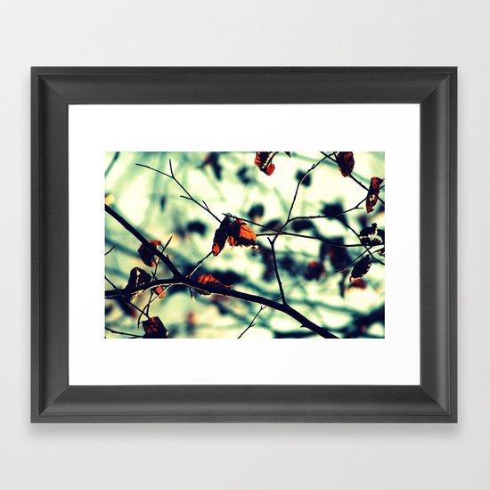 Aqua Leaves Framed Art Print