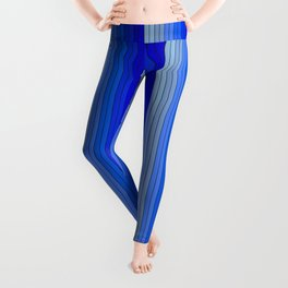70's Graphic Stripes in Blue Ombre Leggings