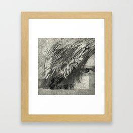 abstract black white face Framed Art Print