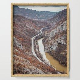 Beautiful picture of the canyon in Serbia. Dramatic sky and mountains Serving Tray
