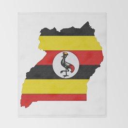 Uganda Map with Ugandan Flag Throw Blanket