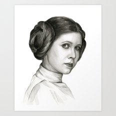Princess Leia Watercolor Painting Carrie Fisher Portrait Art Print