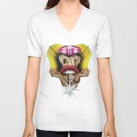 glitter V-neck T-shirts featuring Glitter Girl by fabiotir