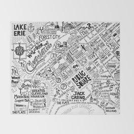 Cleveland Ohio Map Throw Blanket