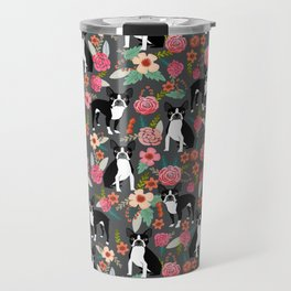 Boston Terrier floral dog breed pet art must have boston terriers gifts Travel Mug