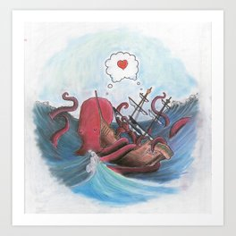 Octopus and Pirate Ship in Love Art Print