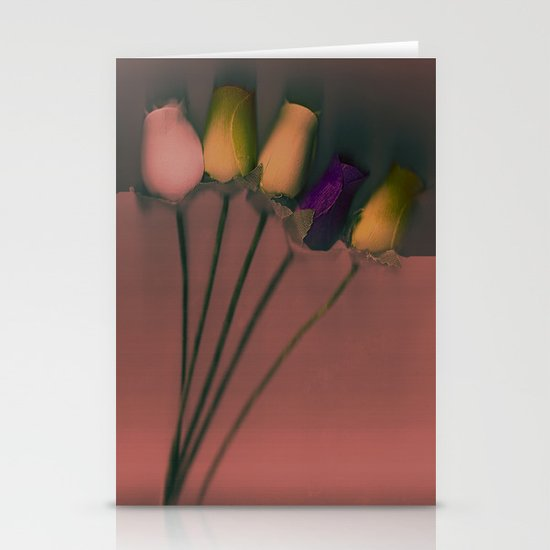 Plastic Flowers Stationery Cards