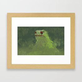 Frog simple illustration texture painting pepe Framed Art Print