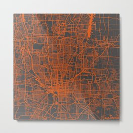 Columbus map orange Metal Print