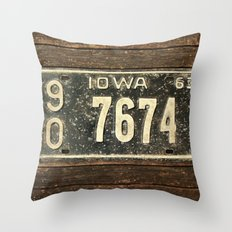 vintage License Plate  Throw Pillow
