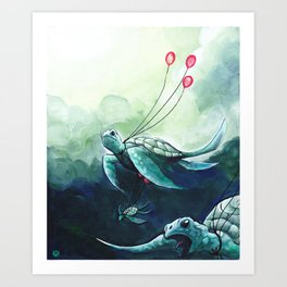 Flying turtles Art Print