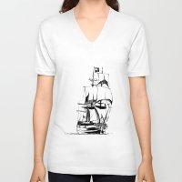 sail V-neck T-shirts featuring Sail by Roberto J. Viacava