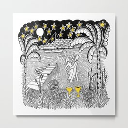 Beach Dancing under Stars Zentangle Style Metal Print