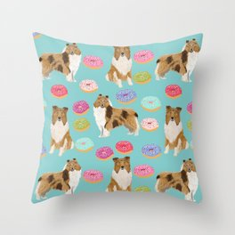 Rough Collie dog breed donut lover pet portrait custom design for dog lover by pet friendly Throw Pillow