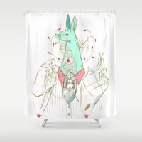 verse Shower Curtains featuring A Case of Verse, Reverse by Celina de Guzman
