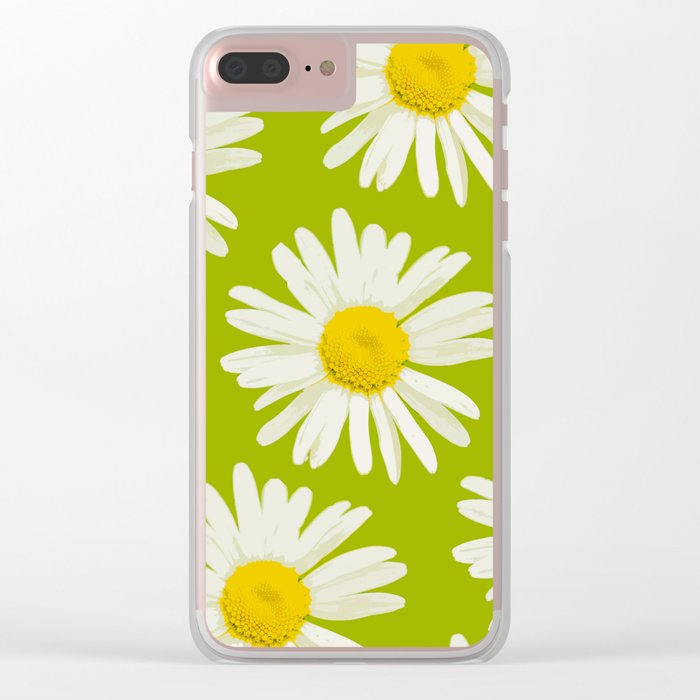 Daisies on a vivid green background - #Society6 #buyart Clear iPhone Case