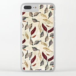 Golden Seed Pods Rustic Nature Botanical Print Clear iPhone Case