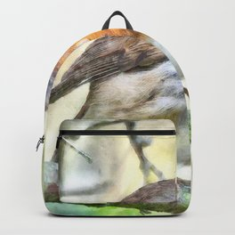 Christmas Robin Redbreast Winter Watercolor Backpack