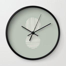 Striped Circles | Sage Green Wall Clock