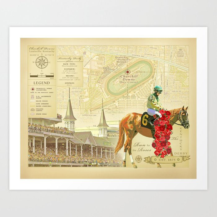 Artistic Kentucky Derby [vintage inspired] Map print Art Print by ...