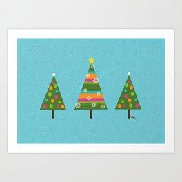 Colorful Christmas Trees Art Print