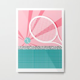 Boo Ya - tennis full court racquet palm springs resort sports vacation athlete pop art 1980s neon  Metal Print