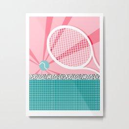 Boo Ya - tennis full court racquet palm springs resort sports vacation athlete pop art 1980s neon  Metal Print