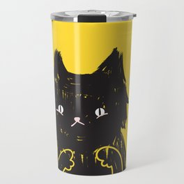 Scaredy Cat - Cute scared black kitty cat illustration Travel Mug
