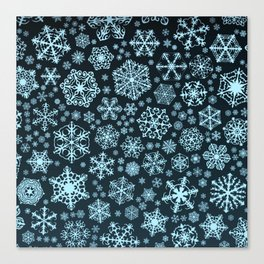 Blue Snowflake Background Canvas Print