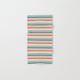 stripes - terra cotta and teal Hand & Bath Towel