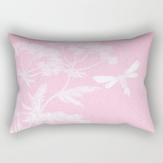 Butterfly in meadow- pink pattern  Rectangular Pillow