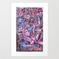 Blue & pink portrait.  Art Print
