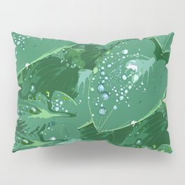 Green leaves with morning dew Pillow Sham