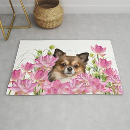 Chihuahua Dog in Lotus Buddha Flower Field Rug