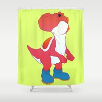 yoshi Shower Curtains featuring Yoshi Red by bloozen