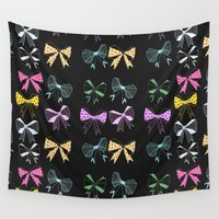 bow Wall Tapestries featuring Bow Print by minniemorrisart