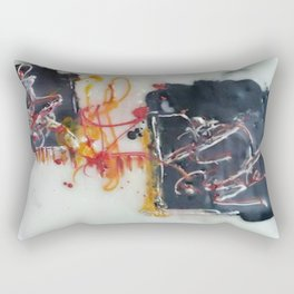 Tribute to Bangla Letters I - Mixed Media Beeswax Encaustic Abstract Modern Fine Art, 2015 Rectangular Pillow