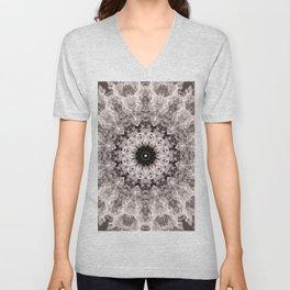 Mandala. Cream and brown. Unisex V-Neck