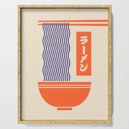 Ramen Japanese Food Noodle Bowl Chopsticks - Cream Serving Tray