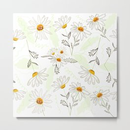 Spring time colorful daisies pattern Metal Print