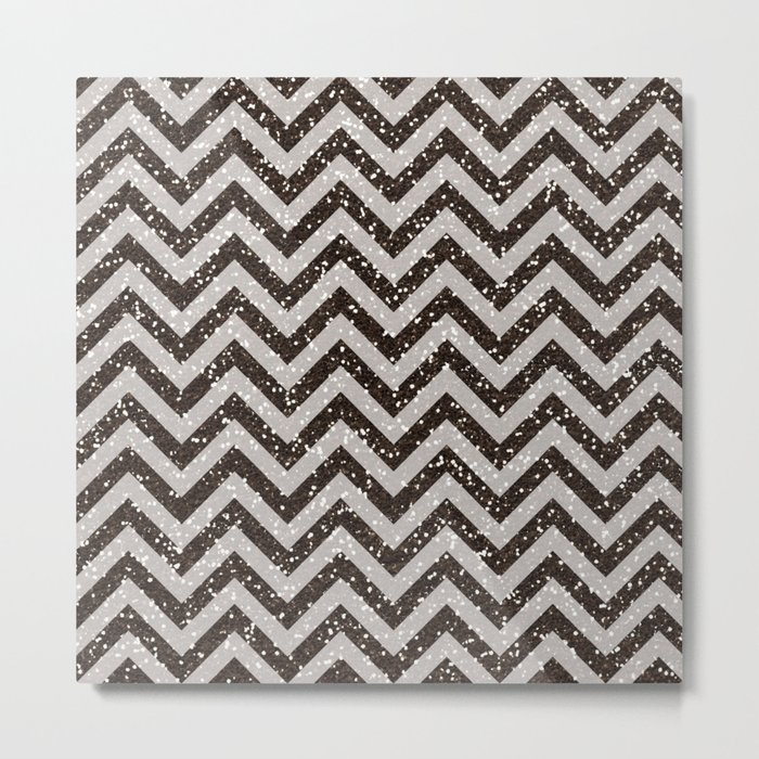 Sparkling glitter chevron pattern - Brown coffee Metal Print