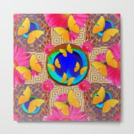 Fuchsia  Pink Yellow Butterflies Blue Patterns Metal Print
