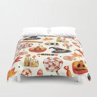 halloween Duvet Covers featuring halloween by Ceren Aksu Dikenci