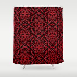 Black and red geometric flowers 5006 Shower Curtain