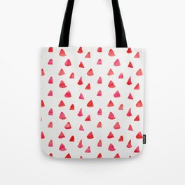 Watercolor pink red abstract geometrical triangles pattern Tote Bag