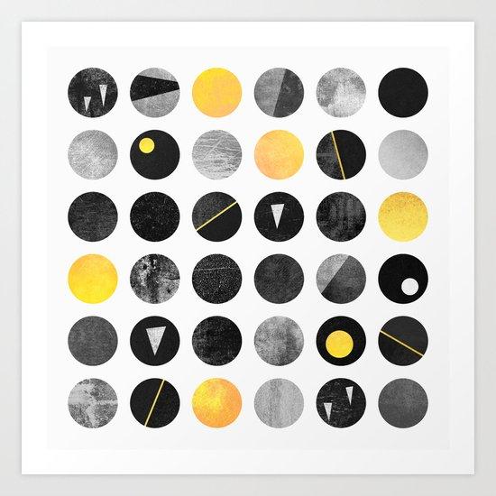 Dots / Yellow & Black Art Print